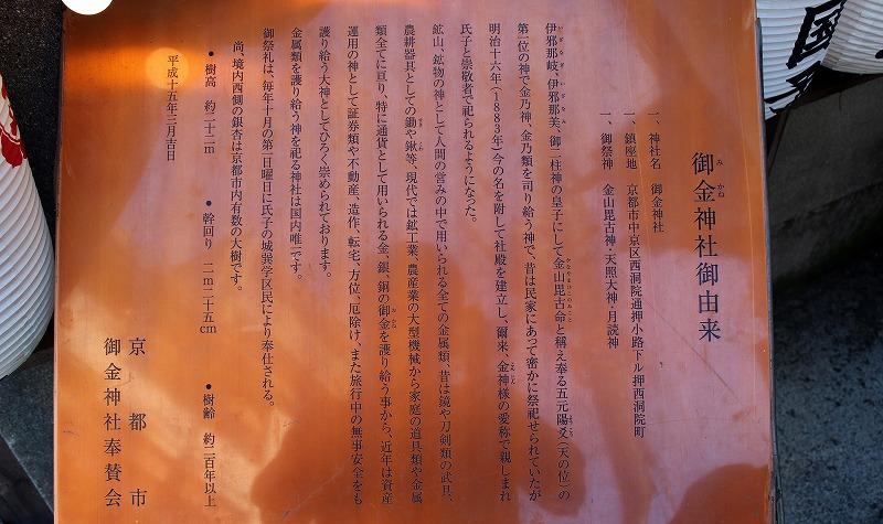 京都 御金神社 案内板