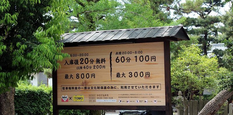 京都 御香宮神社の駐車場
